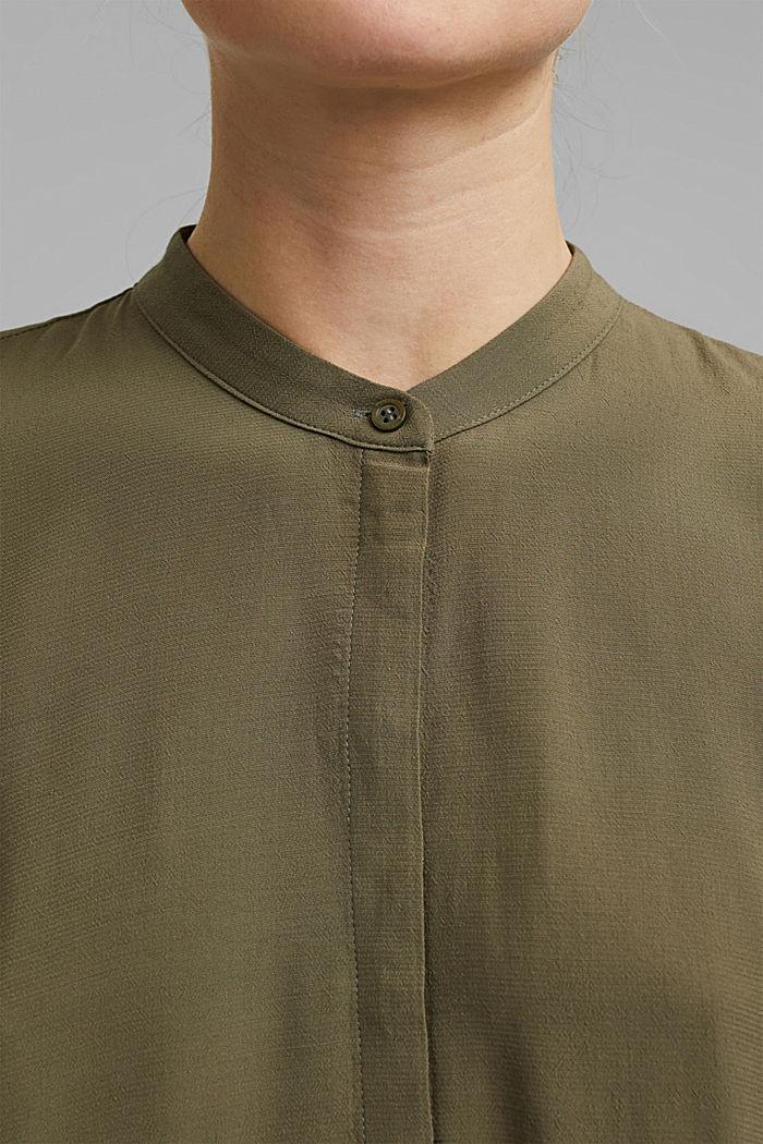 Delší tuniková halenka z vláken LENZING™ ECOVERO™, DARK KHAKI, detail image number 2