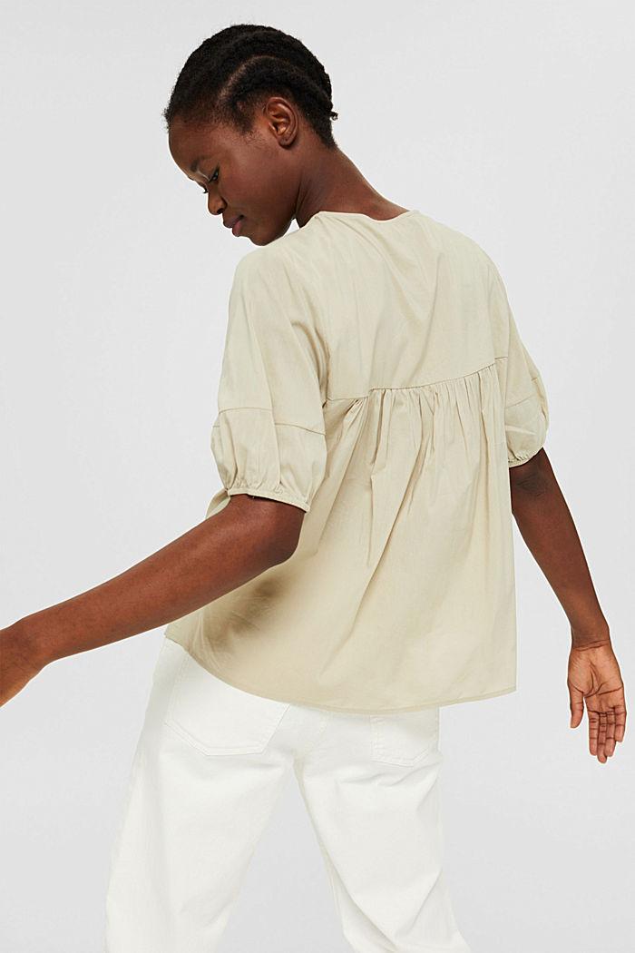 Blusa con mangas semilargas en mezcla de algodón, DUSTY GREEN, detail image number 3