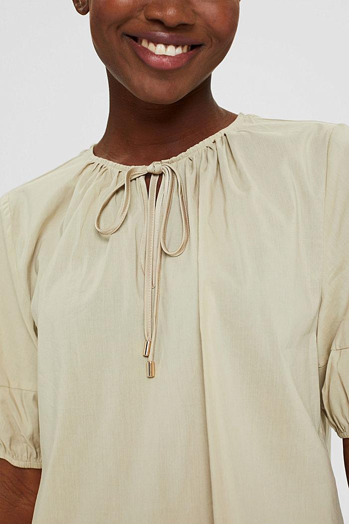 Blusa con mangas semilargas en mezcla de algodón, DUSTY GREEN, detail image number 2