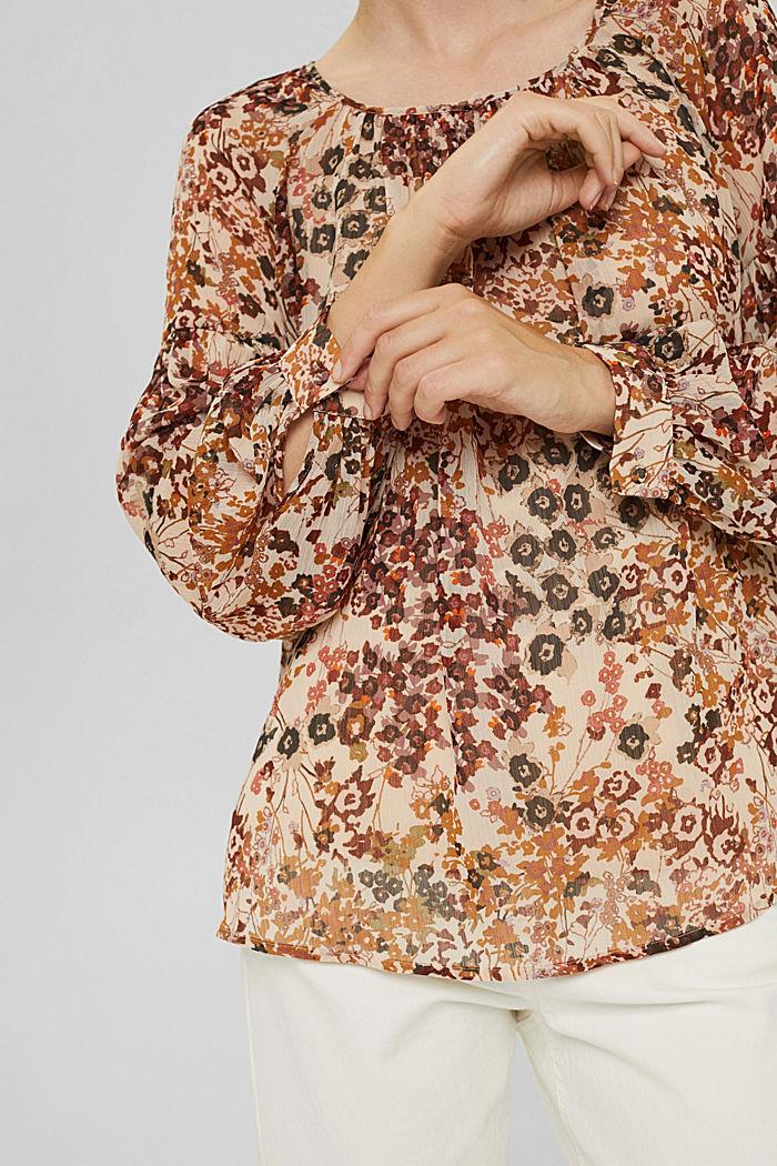 Recycelt: Flower Bluse aus Chiffon, ICE, detail image number 2