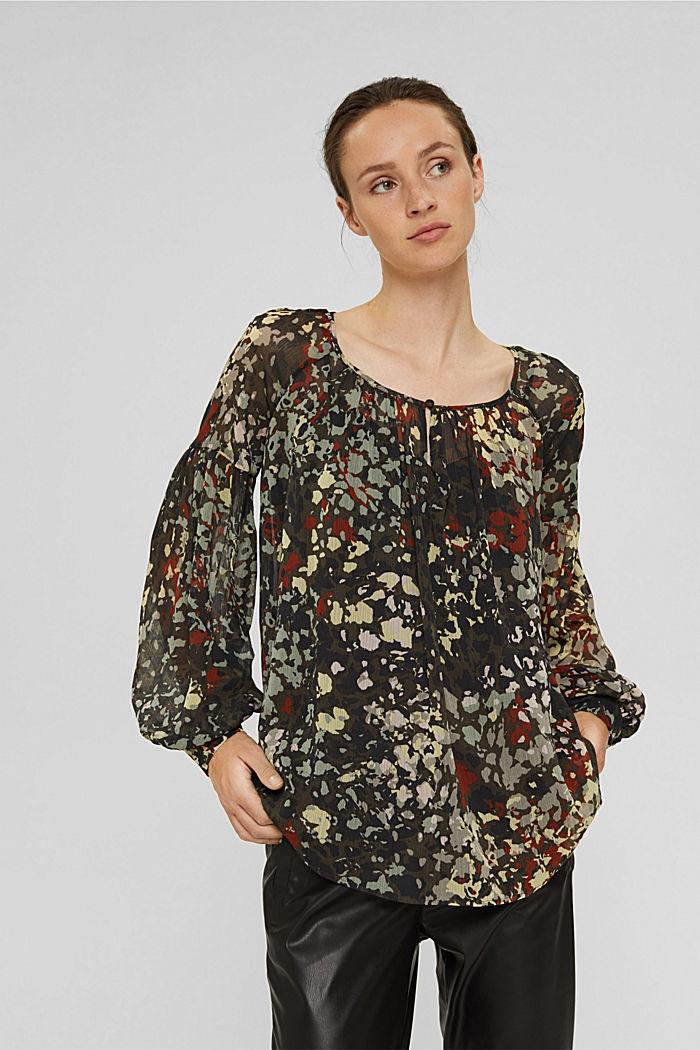 Gerecycled: gebloemde blouse van chiffon