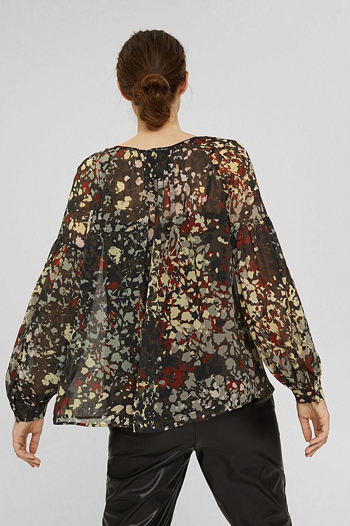 Recycelt: Flower Bluse aus Chiffon, DARK KHAKI, detail image number 3