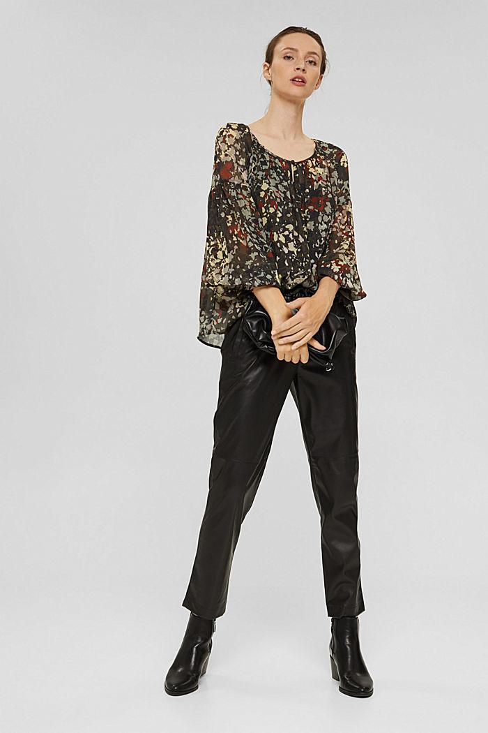 Recycelt: Flower Bluse aus Chiffon, DARK KHAKI, detail image number 1