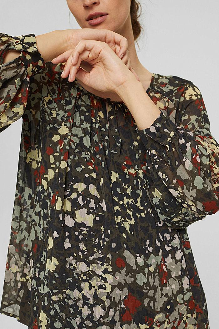 Recycelt: Flower Bluse aus Chiffon, DARK KHAKI, detail image number 2