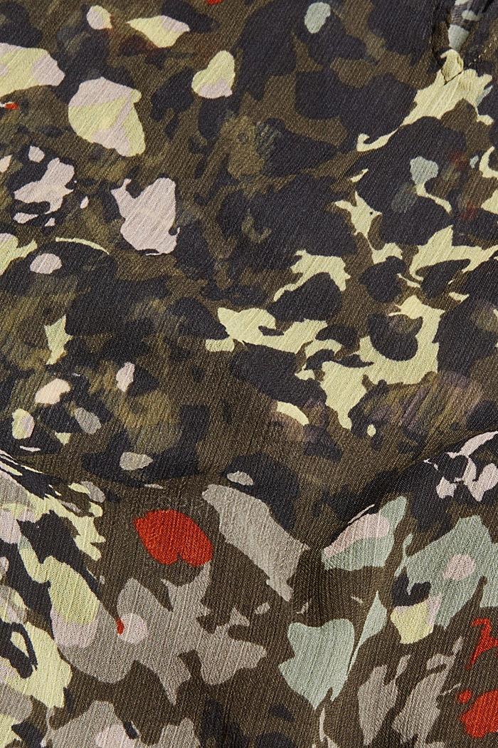 Recycelt: Flower Bluse aus Chiffon, DARK KHAKI, detail image number 4