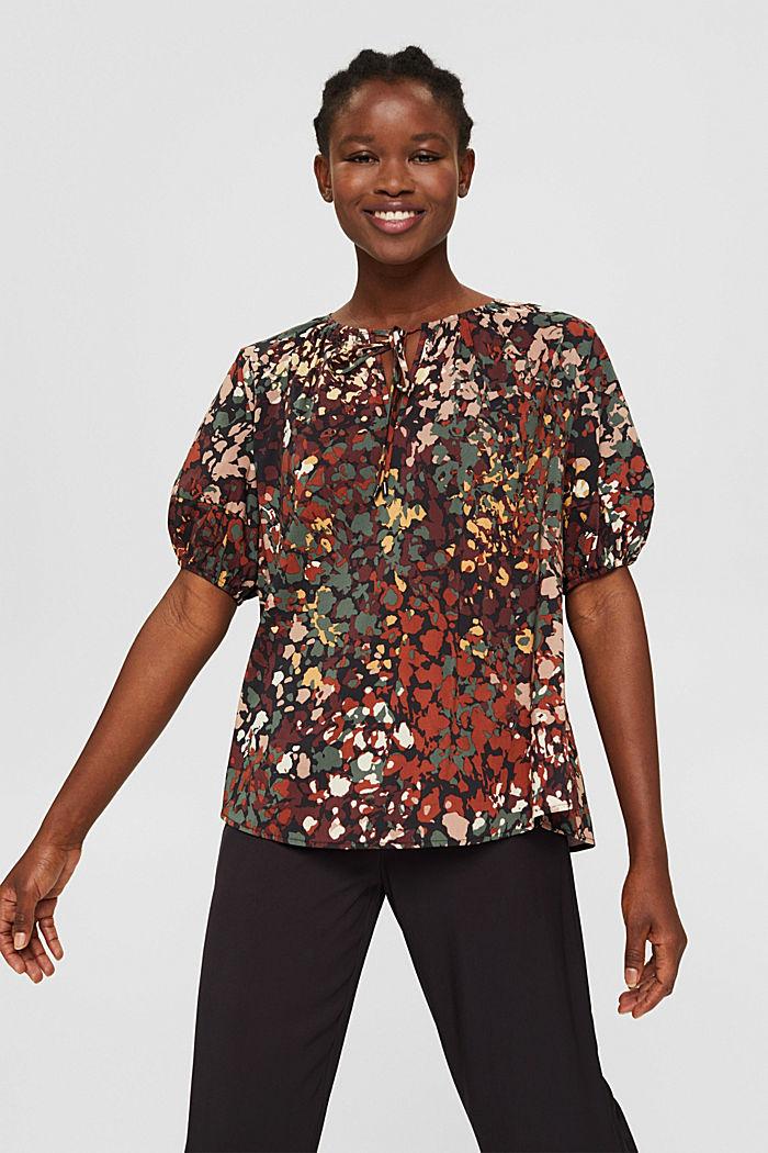 Cotton blend print blouse