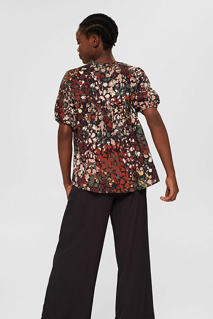 Cotton blend print blouse, BLACK, detail image number 3
