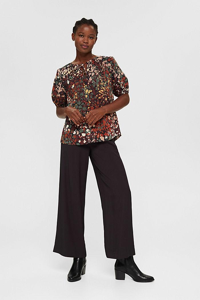Cotton blend print blouse, BLACK, detail image number 1
