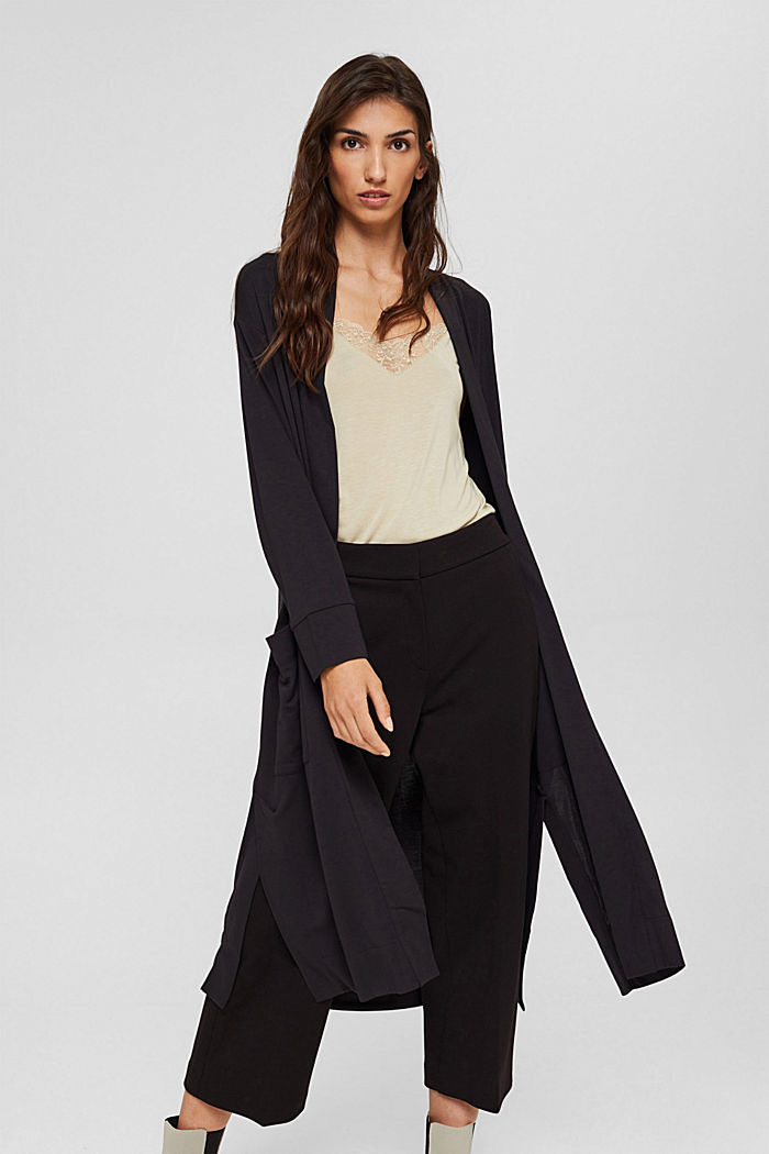 Langer Jersey-Cardigan, LENZING™ ECOVERO™, BLACK, detail image number 0