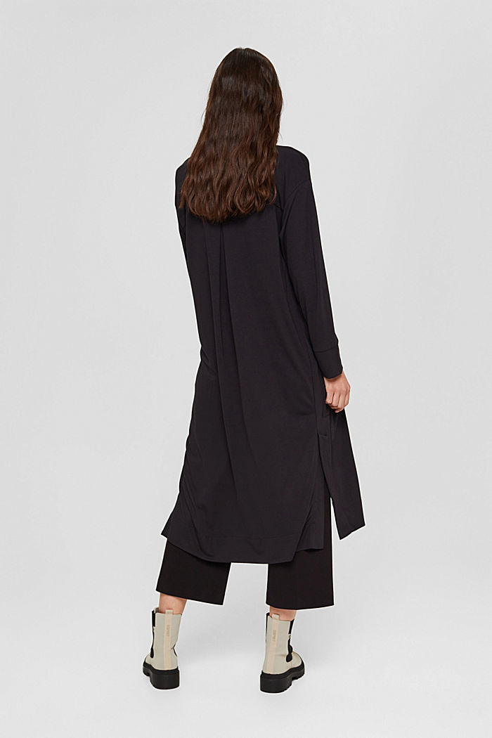Langer Jersey-Cardigan, LENZING™ ECOVERO™, BLACK, detail image number 3