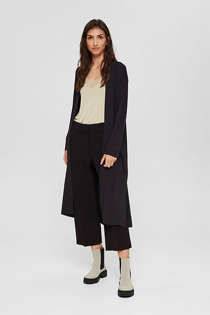 Langer Jersey-Cardigan, LENZING™ ECOVERO™, BLACK, detail image number 1