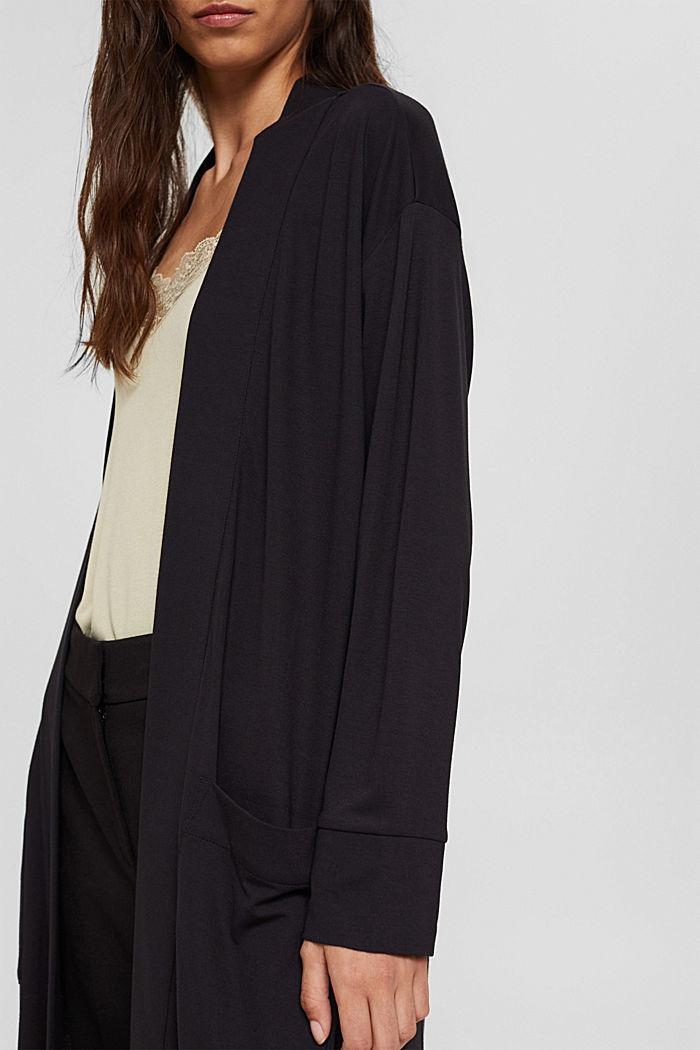 Langer Jersey-Cardigan, LENZING™ ECOVERO™, BLACK, detail image number 2