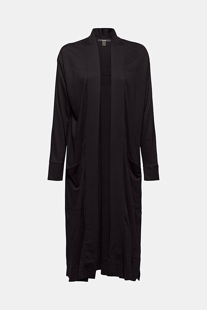 Langer Jersey-Cardigan, LENZING™ ECOVERO™, BLACK, detail image number 5