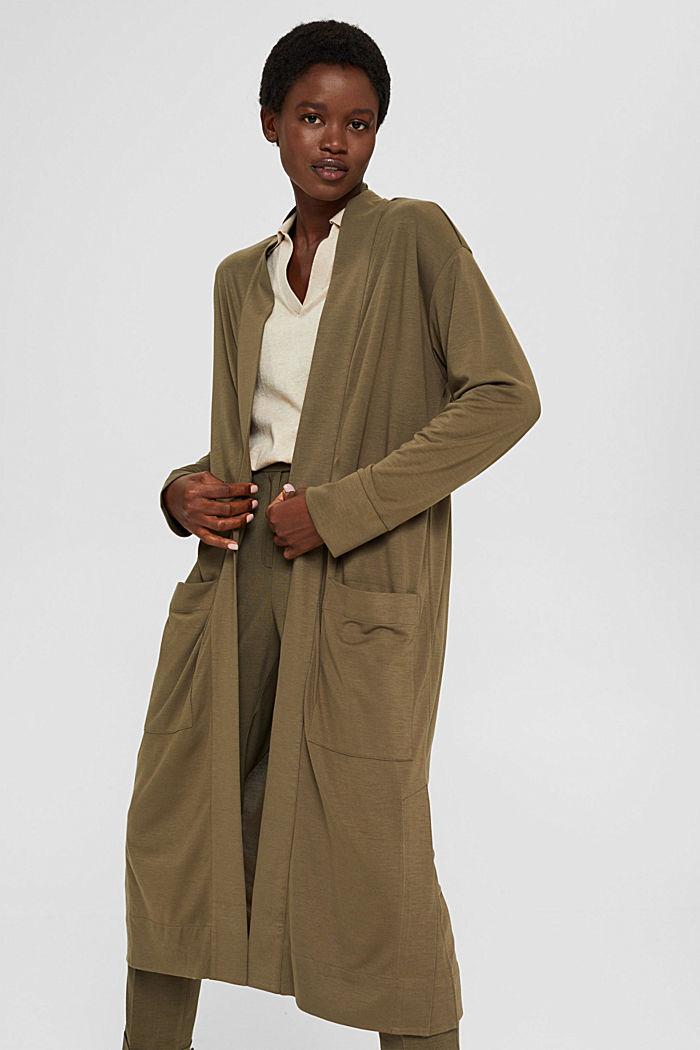 Long cardigan en jersey, LENZING™ ECOVERO™, DARK KHAKI, detail image number 0
