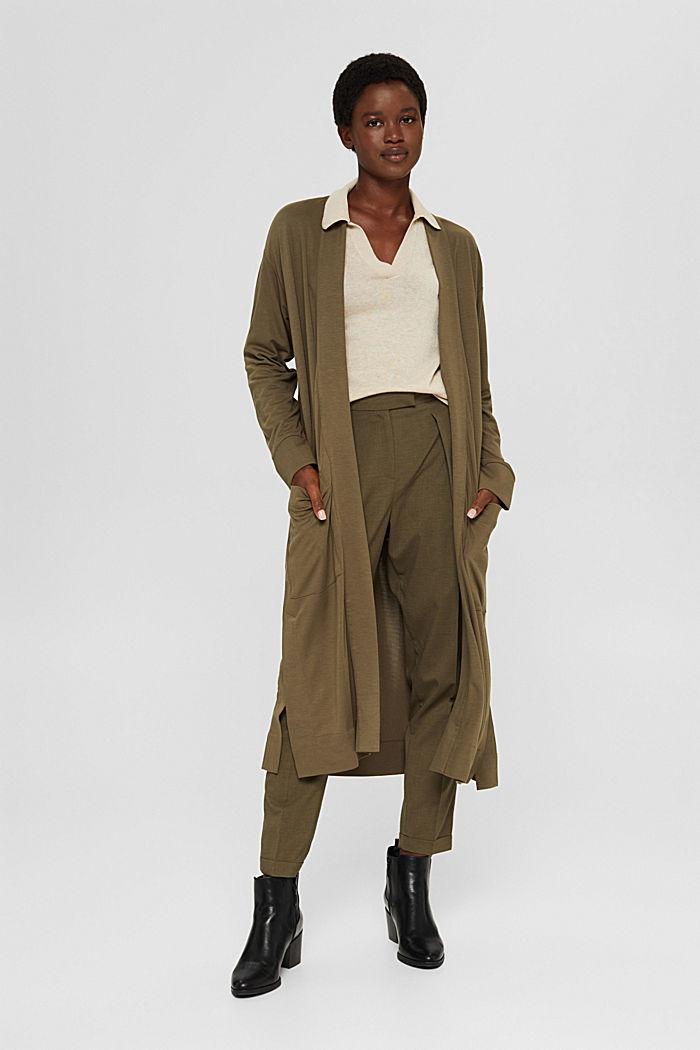 Long cardigan en jersey, LENZING™ ECOVERO™, DARK KHAKI, detail image number 1