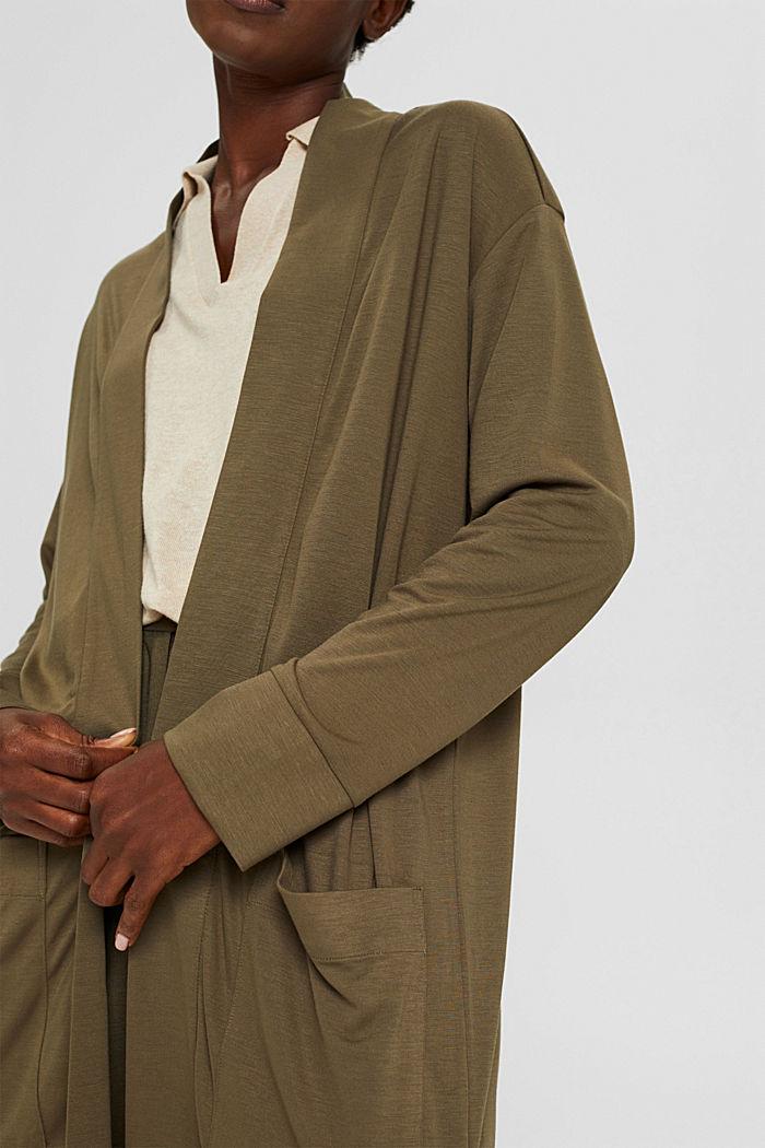 Long cardigan en jersey, LENZING™ ECOVERO™, DARK KHAKI, detail image number 2