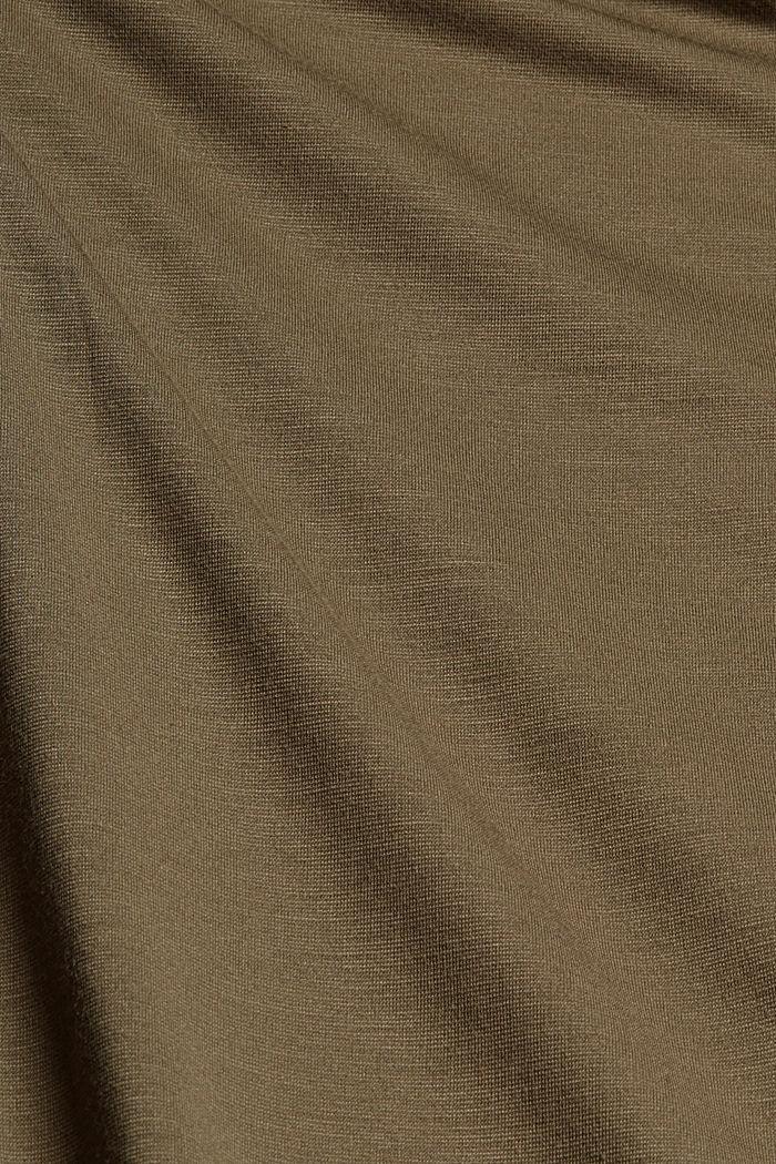 Long cardigan en jersey, LENZING™ ECOVERO™, DARK KHAKI, detail image number 4
