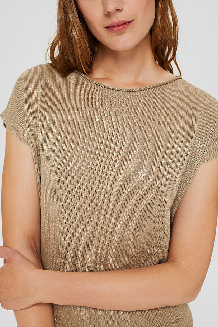 Kurzarm-Pullover mit Glanz, LIGHT KHAKI, detail image number 2