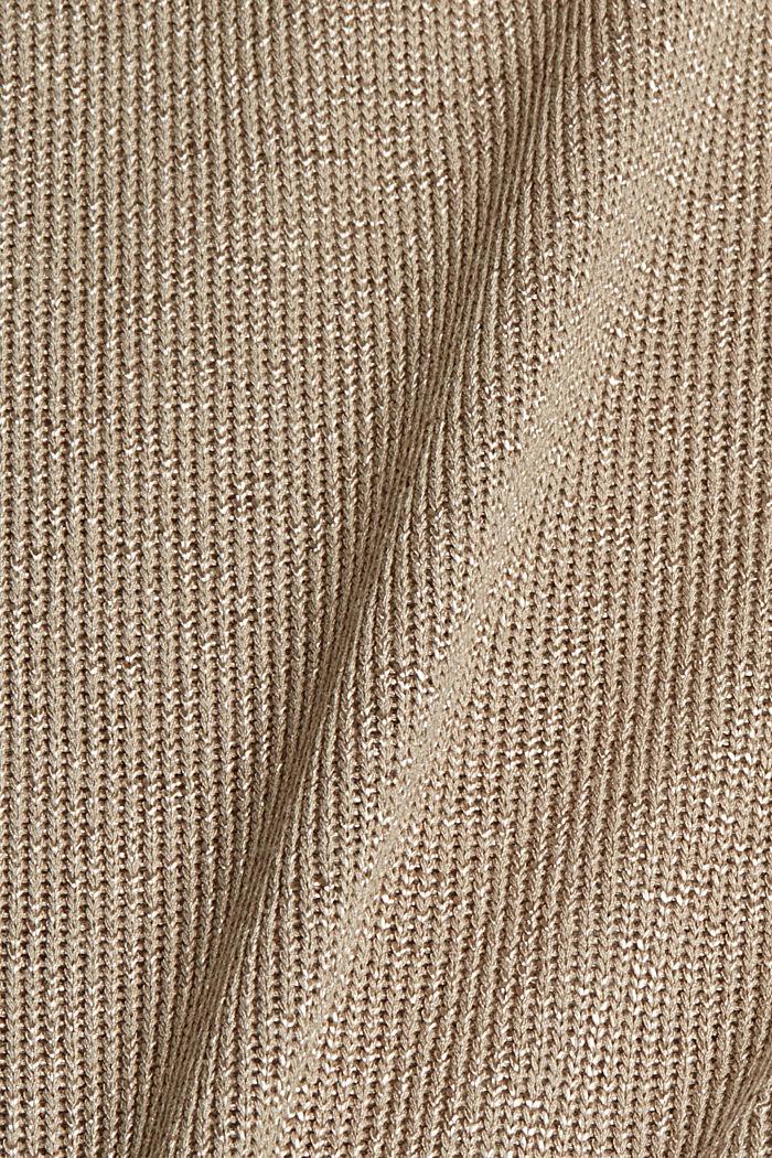 Kurzarm-Pullover mit Glanz, LIGHT KHAKI, detail image number 4