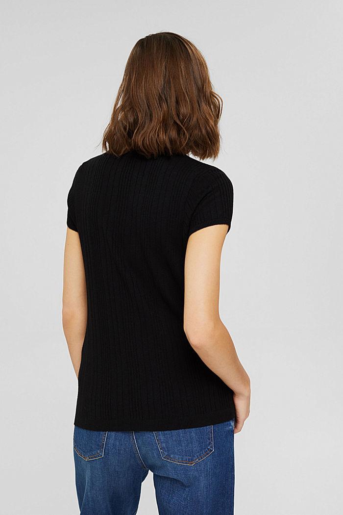 Mit Wolle: Kurzarm-Pullover mit Struktur, BLACK, detail image number 3