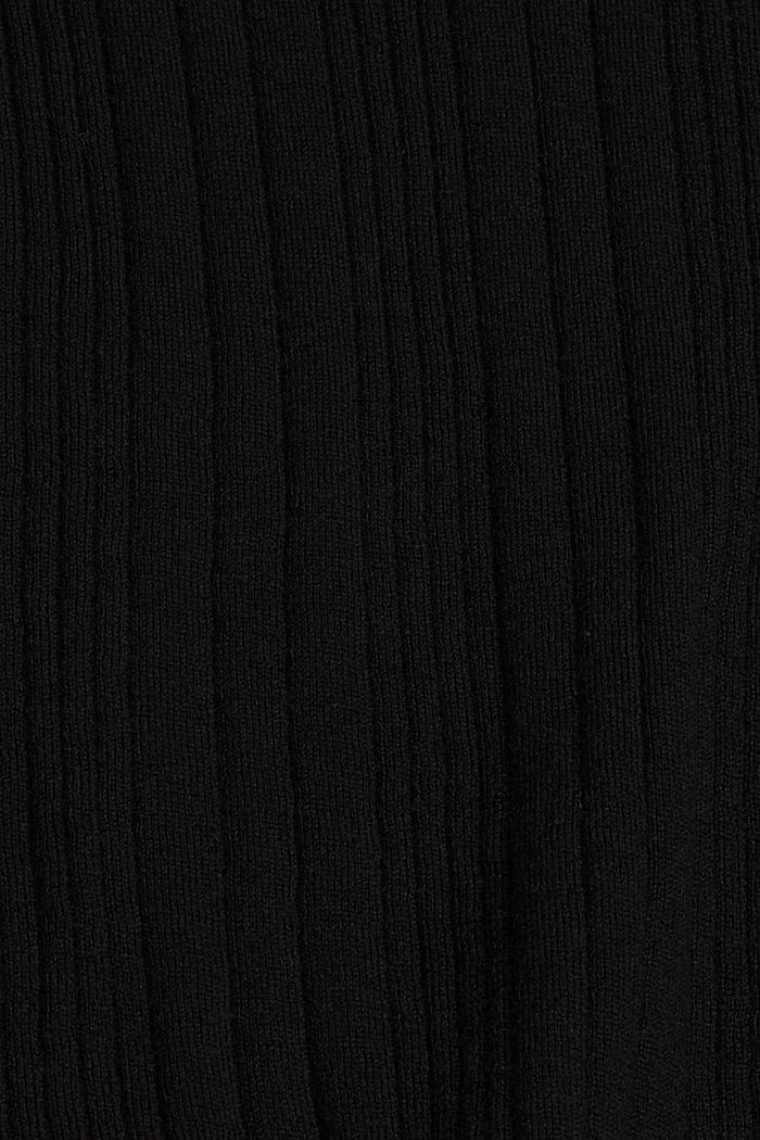 Mit Wolle: Kurzarm-Pullover mit Struktur, BLACK, detail image number 4