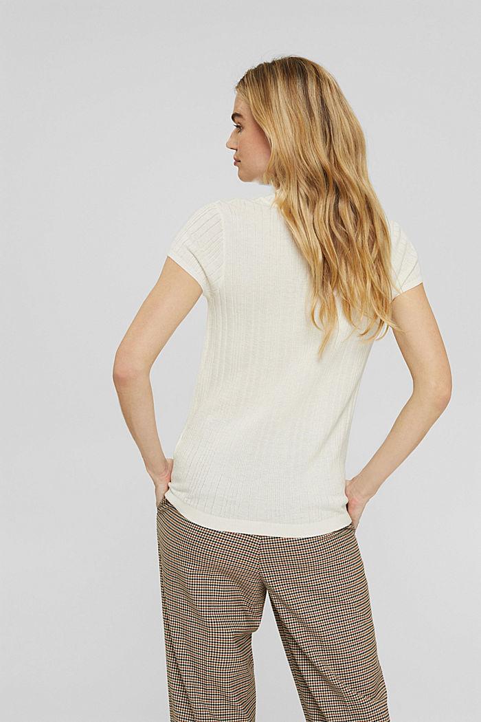 Svlnou: pulovr s krátkým rukávem a strukturou, OFF WHITE, detail image number 3