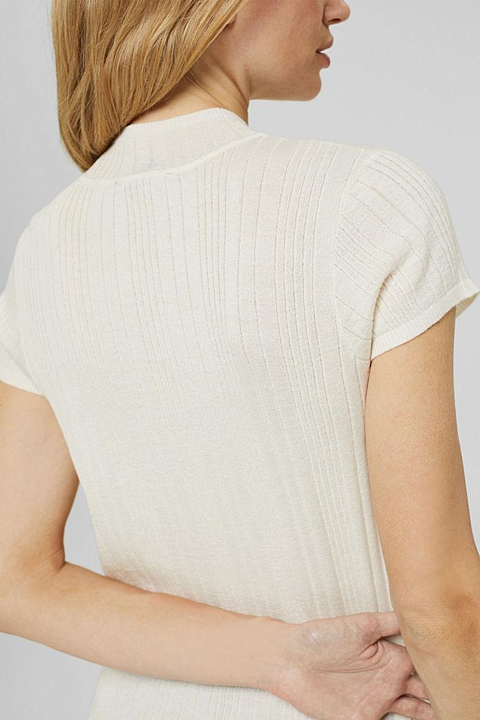 Svlnou: pulovr s krátkým rukávem a strukturou, OFF WHITE, detail image number 2