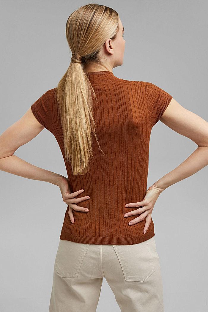 Mit Wolle: Kurzarm-Pullover mit Struktur, TOFFEE, detail image number 3