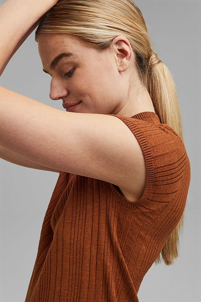 Wool blend: Textured, short-sleeved jumper
