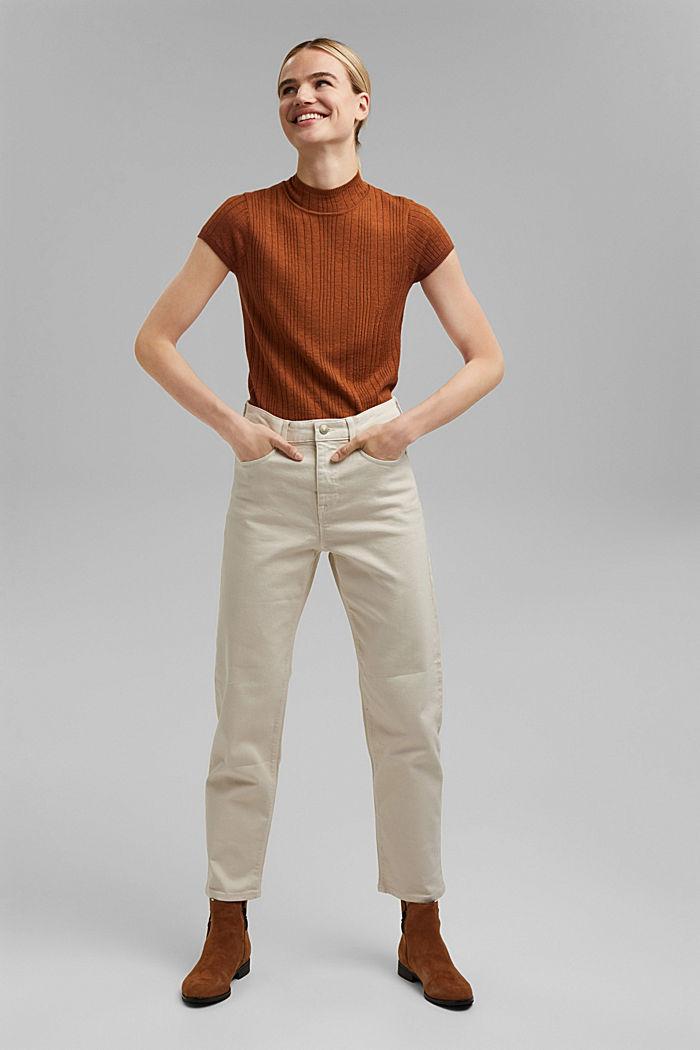 Mit Wolle: Kurzarm-Pullover mit Struktur, TOFFEE, detail image number 1