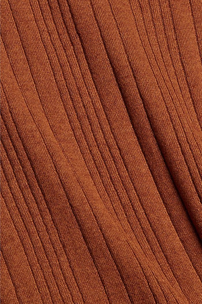 Mit Wolle: Kurzarm-Pullover mit Struktur, TOFFEE, detail image number 4