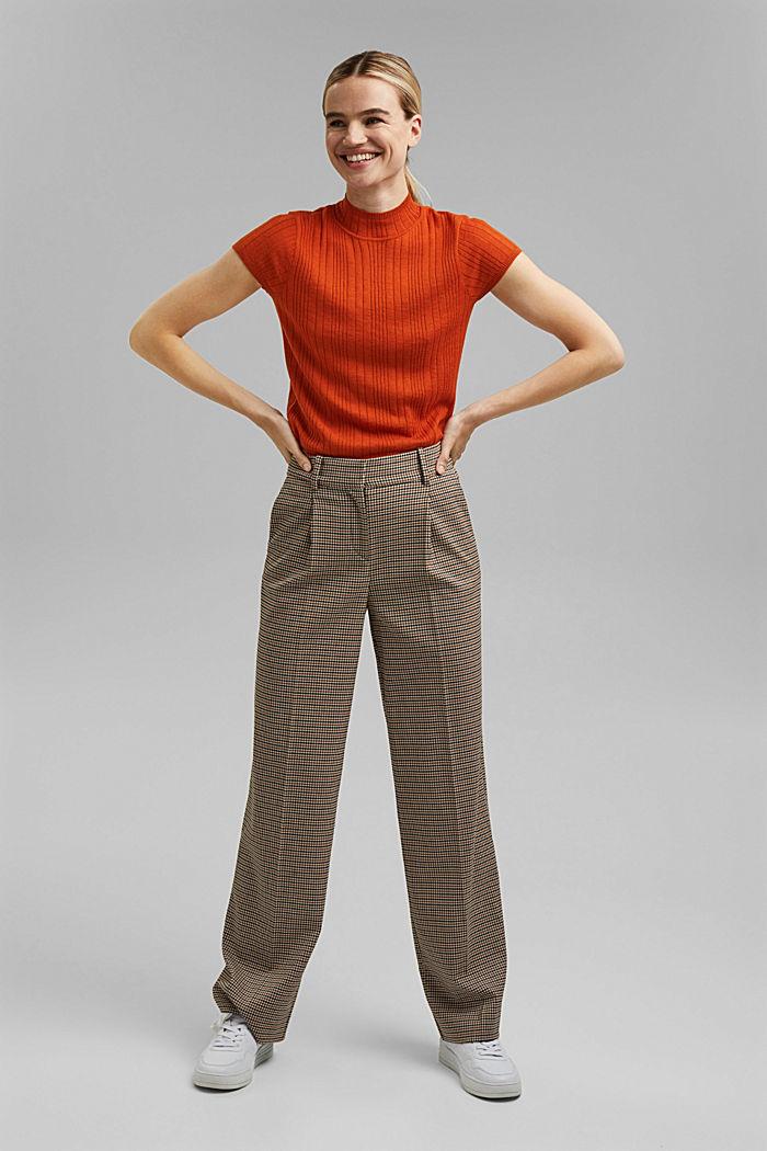 Mit Wolle: Kurzarm-Pullover mit Struktur, TERRACOTTA, detail image number 1