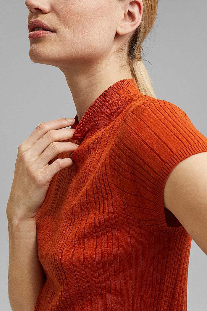 Mit Wolle: Kurzarm-Pullover mit Struktur, TERRACOTTA, detail image number 2