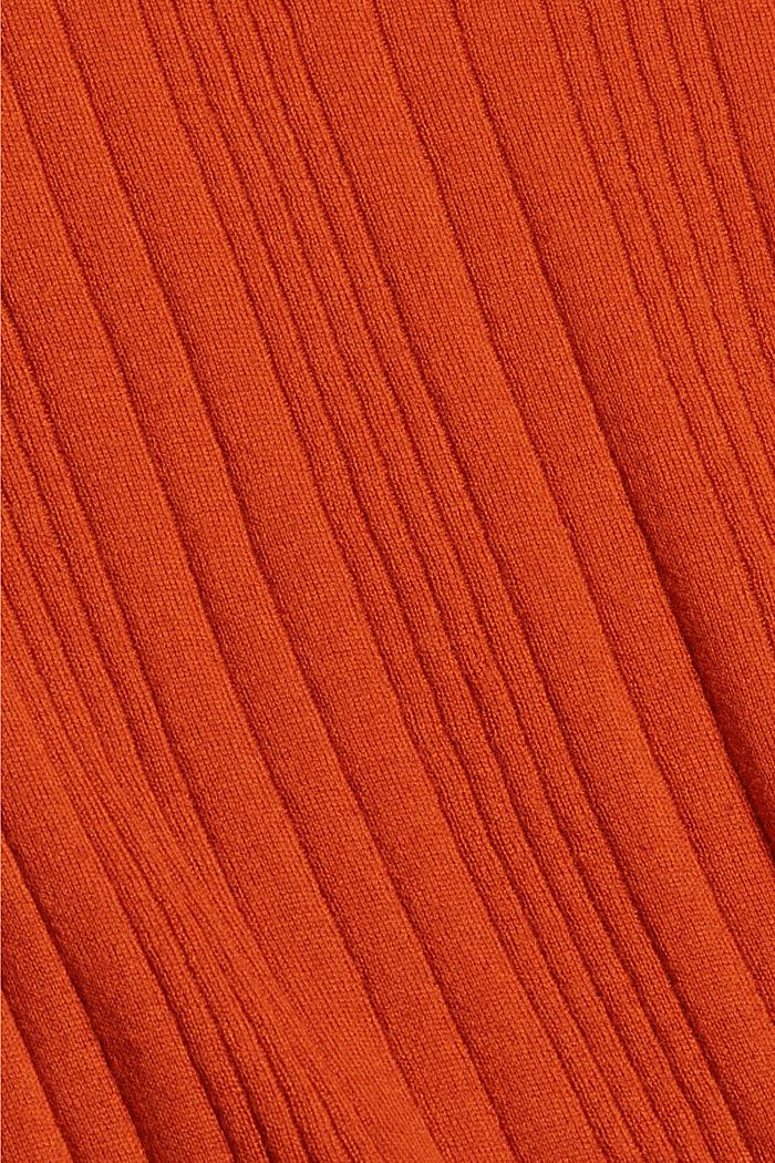 Mit Wolle: Kurzarm-Pullover mit Struktur, TERRACOTTA, detail image number 4