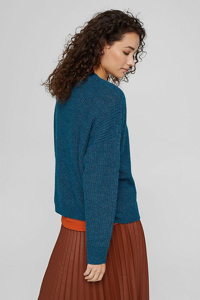 With alpaca/wool: V-neck cardigan, PETROL BLUE, detail image number 3