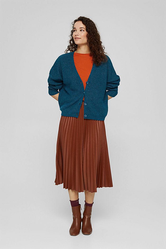 With alpaca/wool: V-neck cardigan, PETROL BLUE, detail image number 1