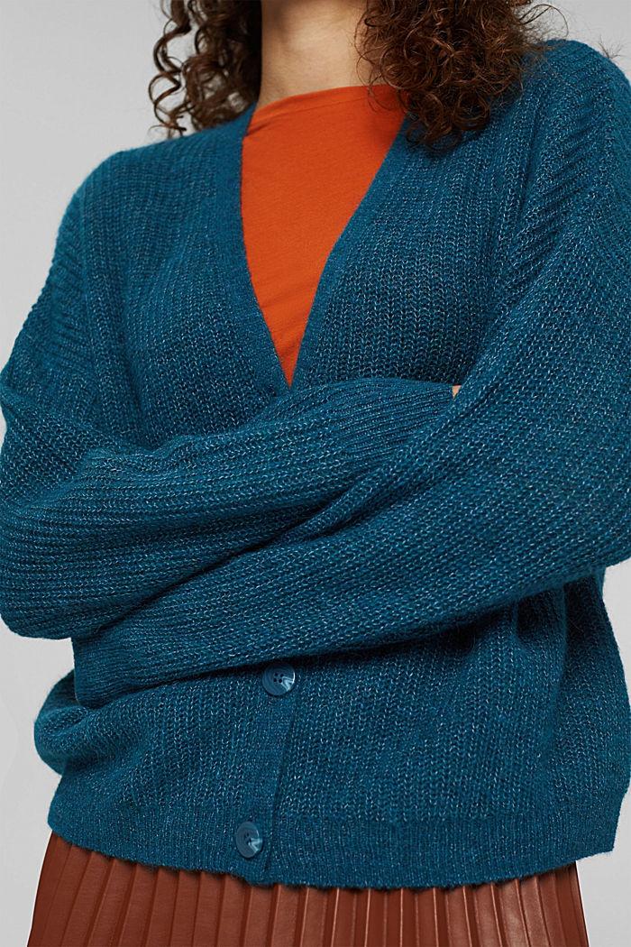With alpaca/wool: V-neck cardigan, PETROL BLUE, detail image number 2