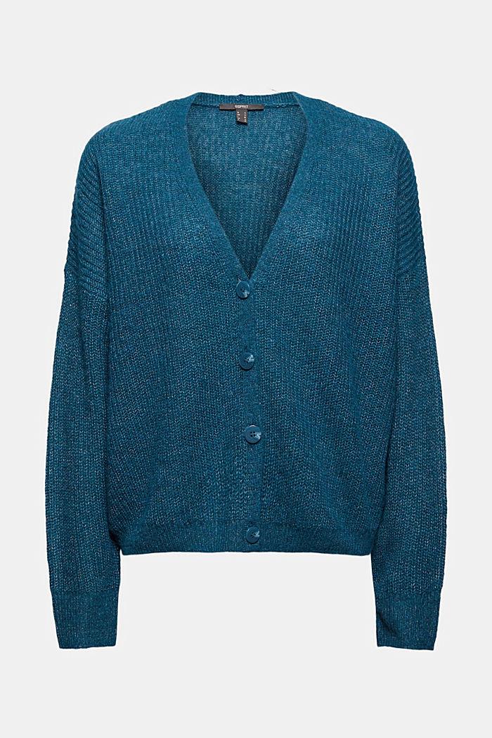 With alpaca/wool: V-neck cardigan, PETROL BLUE, detail image number 6