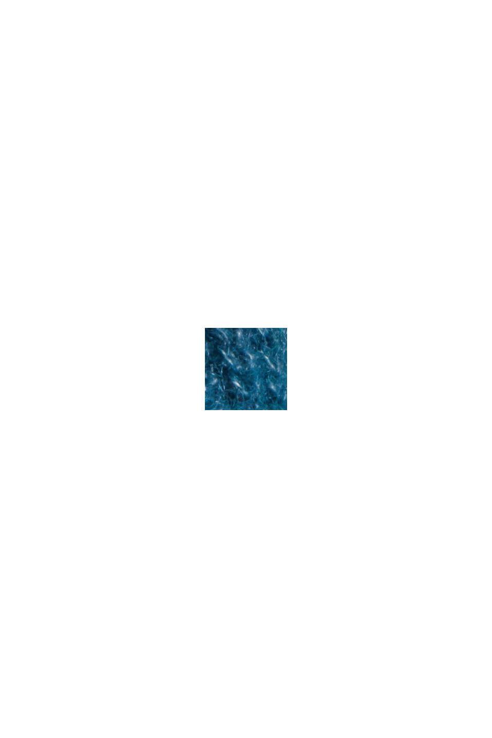 Z wełną z alpaki/owczą: kardigan z dekoltem w serek, PETROL BLUE, swatch