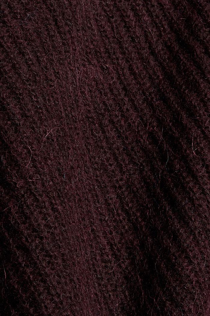 À teneur en alpage/laine: le cardigan à encolure en V, DARK BORDEAUX RED, detail image number 4