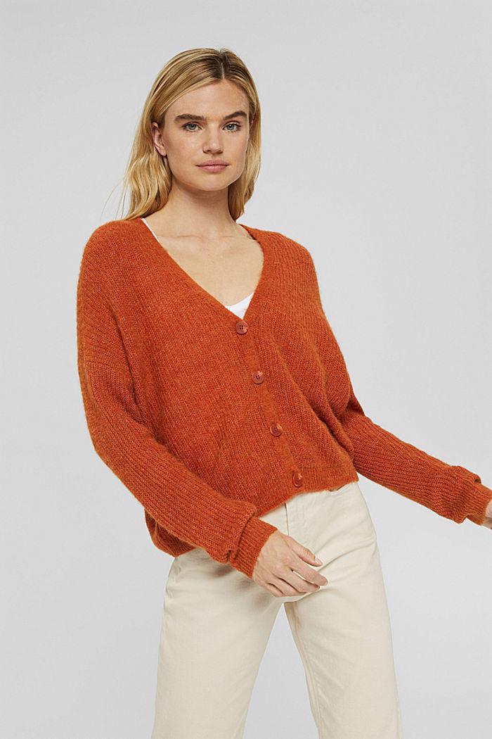 With alpaca/wool: V-neck cardigan