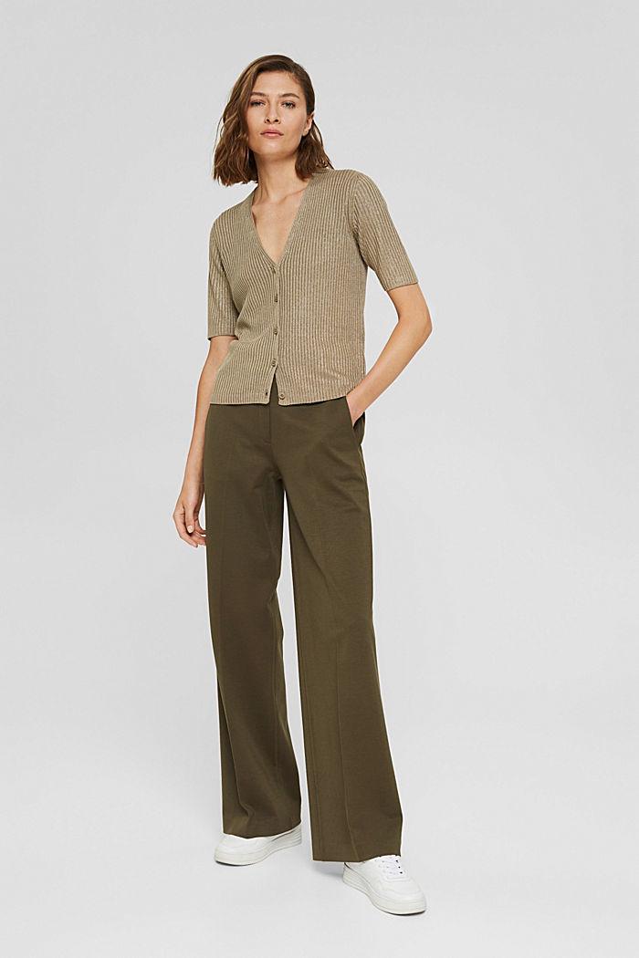 Cardigan à manches courtes, garni de fil brillant, LIGHT KHAKI, detail image number 1