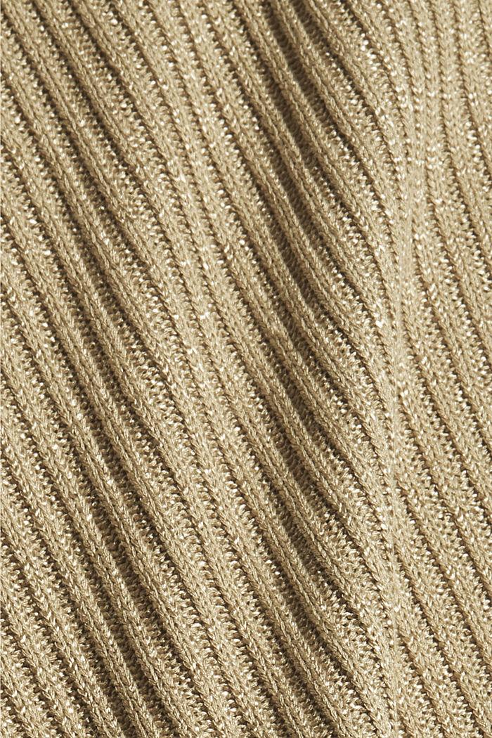 Cardigan à manches courtes, garni de fil brillant, LIGHT KHAKI, detail image number 4