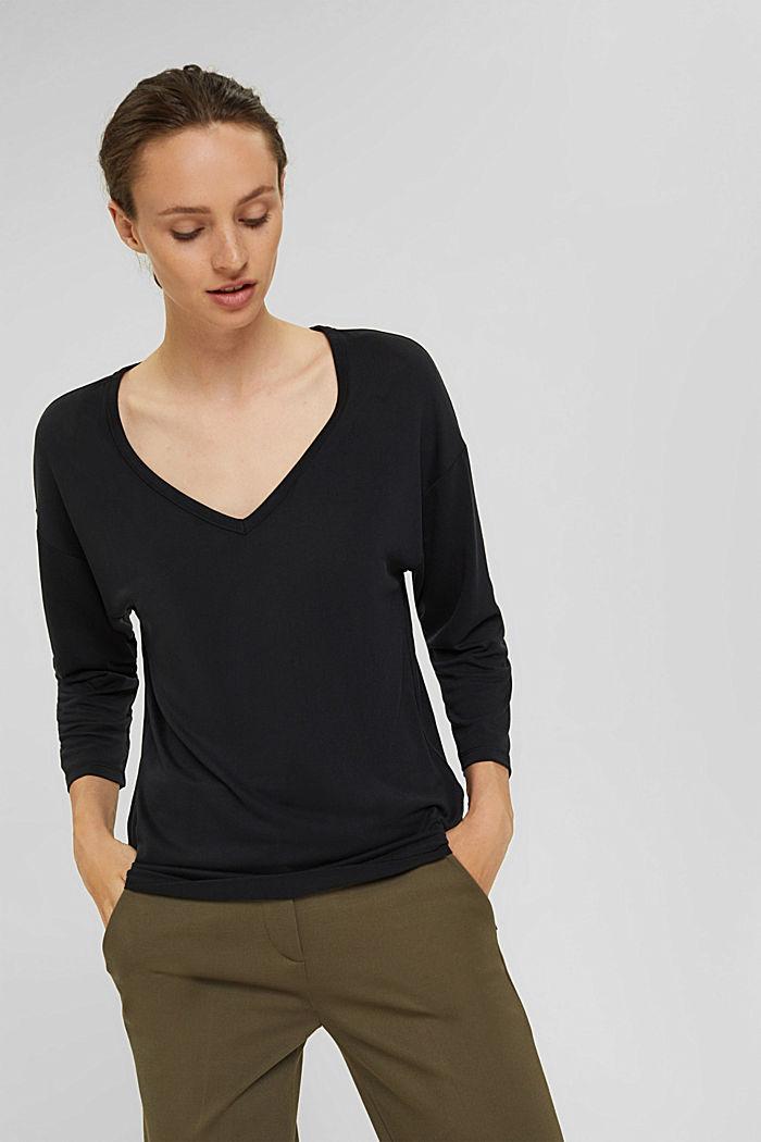 Made of TENCEL™ x REFIBRA™: V-neck long sleeve top, BLACK, detail image number 0