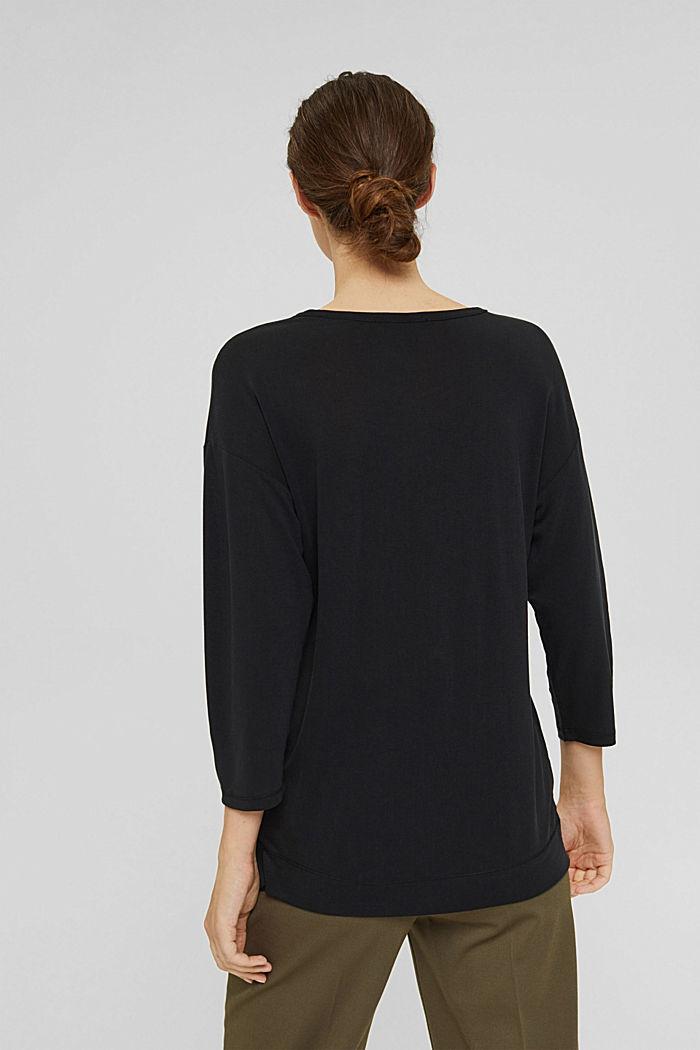 Made of TENCEL™ x REFIBRA™: V-neck long sleeve top, BLACK, detail image number 3
