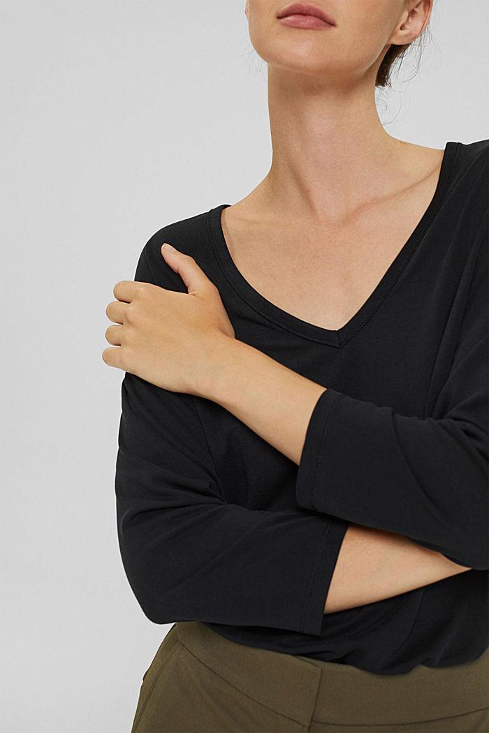 Made of TENCEL™ x REFIBRA™: V-neck long sleeve top, BLACK, detail image number 2