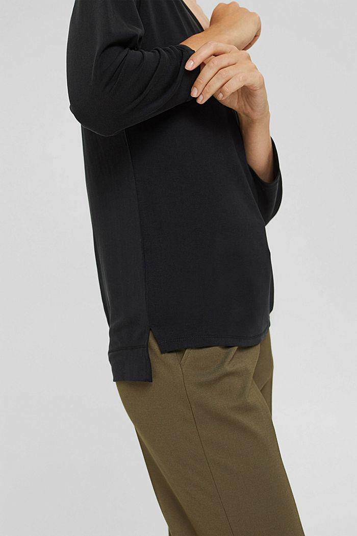 Made of TENCEL™ x REFIBRA™: V-neck long sleeve top, BLACK, detail image number 5