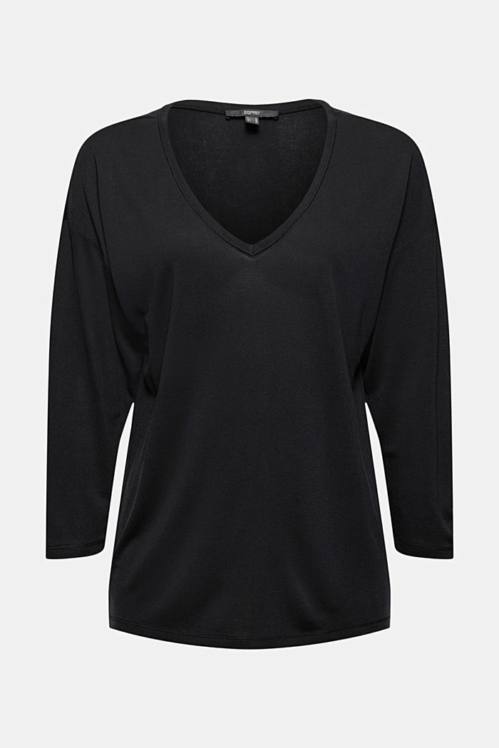 Made of TENCEL™ x REFIBRA™: V-neck long sleeve top, BLACK, detail image number 8