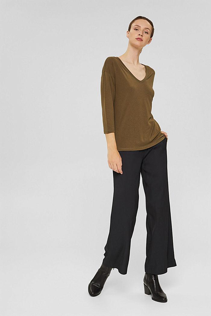 Made of TENCEL™ x REFIBRA™: V-neck long sleeve top, DARK KHAKI, detail image number 1