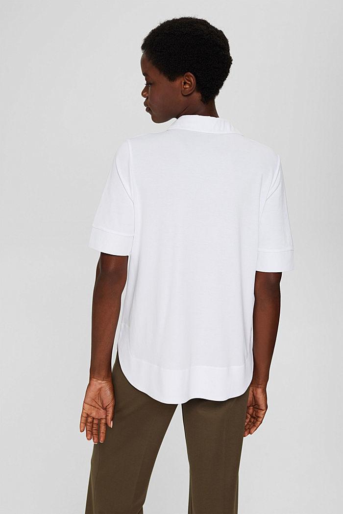 Camiseta con cuello de camisa, LENZING™ ECOVERO™, WHITE, detail image number 3